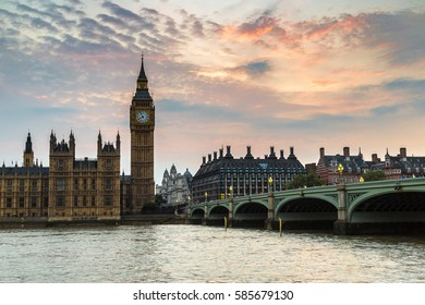 The Big Ben, the Houses of Parliament and Westminster bridge in London in a beautiful summer night, England, United Kingdom