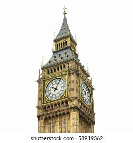 Big Ben, Houses of Parliament, Westminster Palace, London gothic architecture - isolated over white background - high dynamic range HDR
