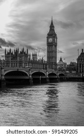 Big Ben. The Houses of Parliament and Westminster Bridge in London. London, England. Black an White