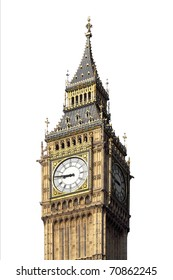 Big Ben, Houses of Parliament, Westminster Palace, London gothic architecture - isolated over white background - rectilinear frontal view