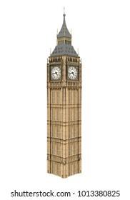 Big Ben Isolated. 3D rendering