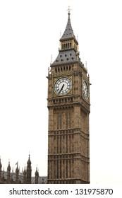 Big Ben isolated on white, London gothic architecture, UK