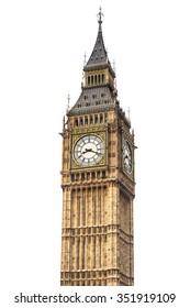Big Ben isolated on white background, London.