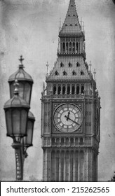 Big Ben in London - black and white photo. Vintage style