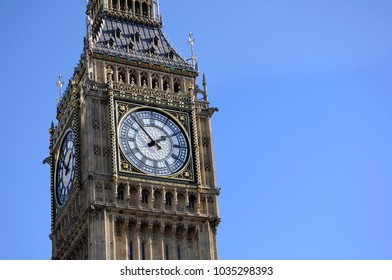 Big Ben in London with blue sky background