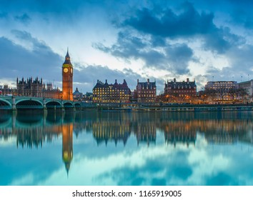 Big Ben in London city, United Kingdom. dark scene sunset