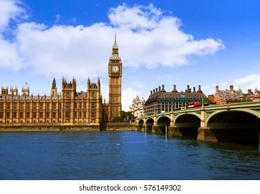 Big Ben London Clock tower in UK Thames river
