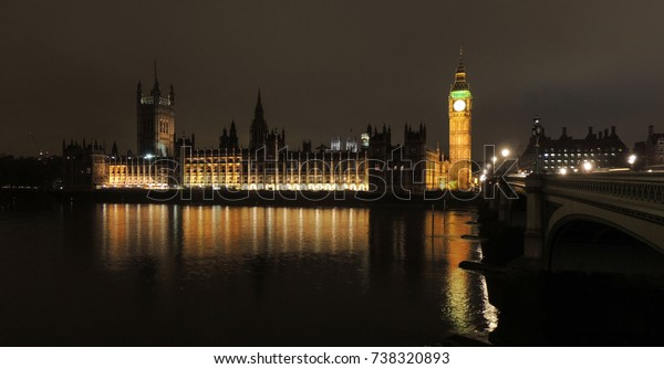 Big Ben in London during nighttime with a beautiful reflection in the river