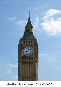 Big Ben in London in England with blue sky