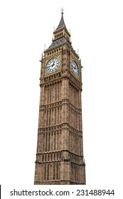 Big Ben in London isolated on white background with clipping path