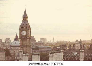 Big Ben London skyline with instagram style filter