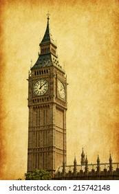 Big Ben,  London, UK.  Added paper texture.