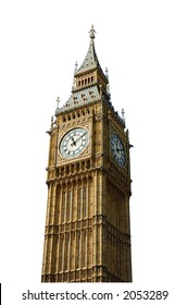 the big ben, london uk (isolated+clipping-path)