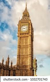Big Ben, London, UK. A view of the popular London landmark, the clock tower known as Big Ben,