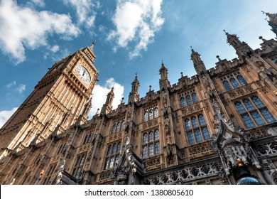 Big Ben, London, UK. A view of the popular London landmark, the clock tower known as Big Ben. The gothic tower is an iconic London landmark of the Houses of Parliament