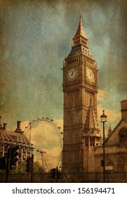 Big Ben,  London, UK. View from Abingdon street. added paper texture