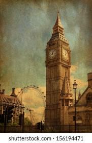 Big Ben,  London, UK. View from Abingdon street. added paper texture