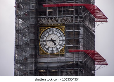 Big Ben, London undergoing reparation surrounded by scaffolding