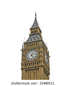 The Big Ben in London United Kingdom isolated on white background