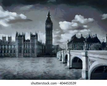 Big Ben - London watercolor illustration. UK.