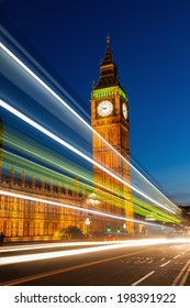 Big Ben at night with light trails of the traffic