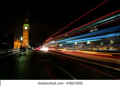 Big ben at night with a long exposure in London, England