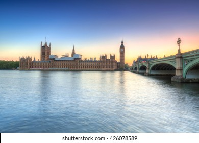 Big Ben and a Palace in London at sunset, UK
