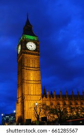 Big Ben and the Palace of Westminster during the blue hour on a clear night, London, United Kingdom