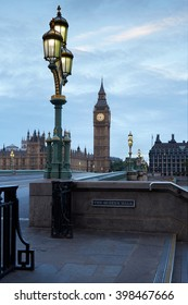 Big Ben and Palace of Westminster, empty bridge in the early morning in London, natural colors and lights
