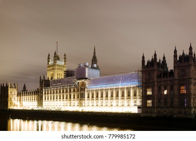 Big Ben and Palace of Westminster in major repair work, renovation - night view