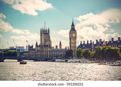 Big Ben, Parliament Building and Westminster Bridge on River Thames, Vintage filtered style, London, UK, Europe