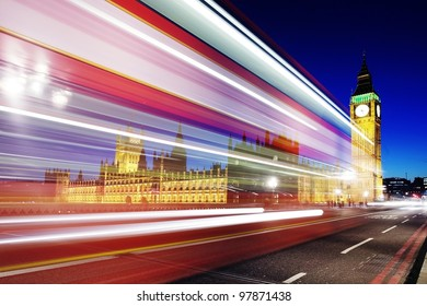 Big Ben and Parliament at night with trail lights