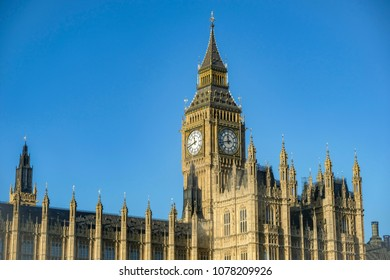 Big Ben and the Parliament on clear blue sky background
