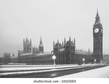 Big Ben in a rare Snow Blizzard
