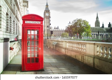 Big ben and red telephone box in London