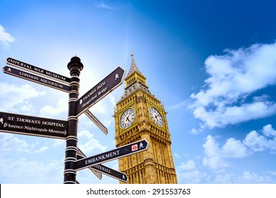 Big Ben with street signs in London, United Kingdom