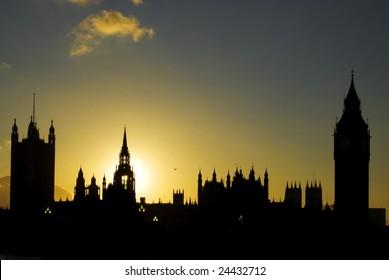 Big Ben at sunset.