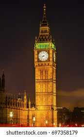 Big Ben Tower Night Houses of Parliament Westminster London England.  Named after the Bell in the Tower. Has kept exact time since 1859.