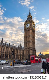 Big Ben tower at sunset, London, UK