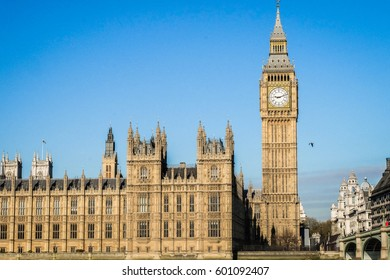 the Big Ben tower in Westminster london uk in a bright day