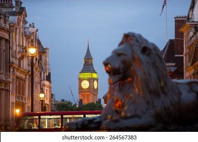 Big Ben and Trafalgar square, London,