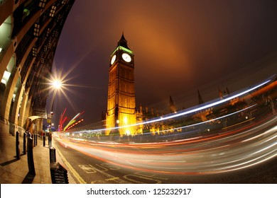 Big Ben with traffic in the evening, London, UK