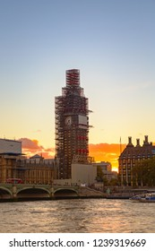 Big Ben, under construction, in sunset