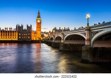Big Ben and Wesminster Bridge Illuminated in the Evening, London, United Kingdom