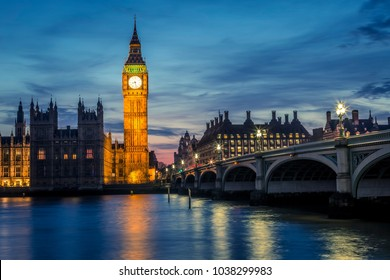 Big Ben and Westminster Bridge by night, London, UK
