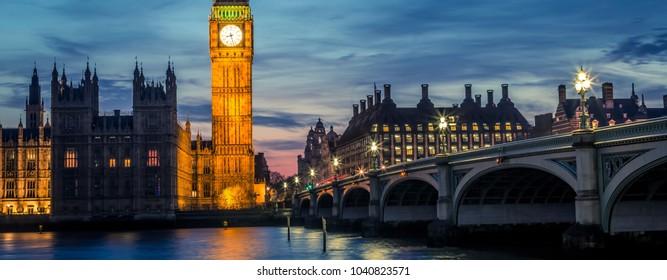 Big Ben and Westminster Bridge by night, London, UK
