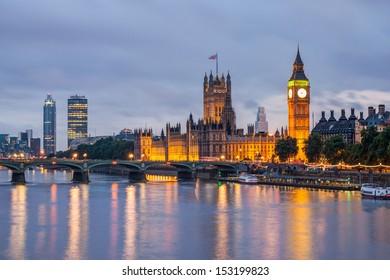 Big Ben and Westminster Bridge at dusk, London, UK - Shutterstock ID 153199823