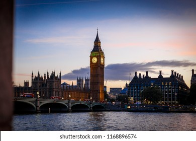 Big Ben and Westminster bridge in the golden hour time, London
