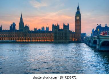 Big Ben and Westminster Bridge landscape during a Winter sunset