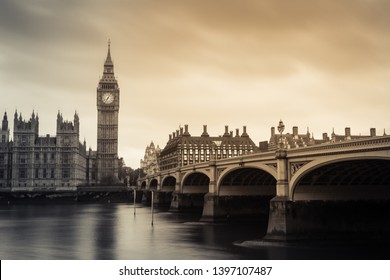 Big Ben and westminster bridge in London, United kingdom. Black and white